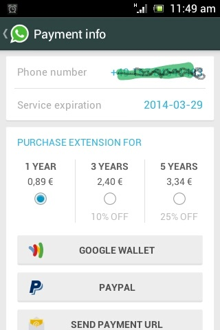 whatsapp with paypal